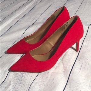 ASOS Shoes Red Suede Kitten Heels